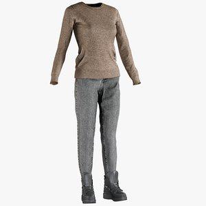 realistic women s jeans 3D
