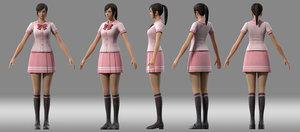 3D girl student japanese model
