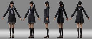 3D girl student japanese