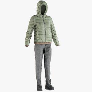 3D realistic women s jeans