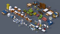 100 Low Poly Furniture Pack 4 in 1