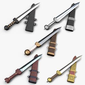 3D roman gladius set sword