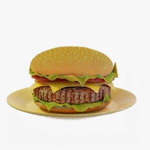 3D model hamburger stake