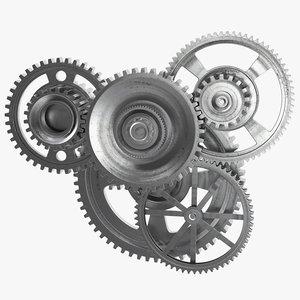 3D metal gear mechanism animation