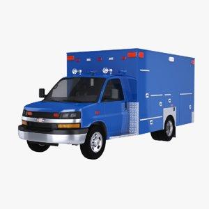 2020 chevrolet express ems ambulance 3D