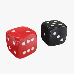 3D dice red black model