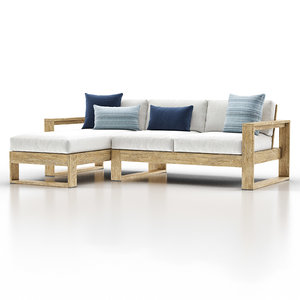 3D portside outdoor 2-piece chaise lounge model