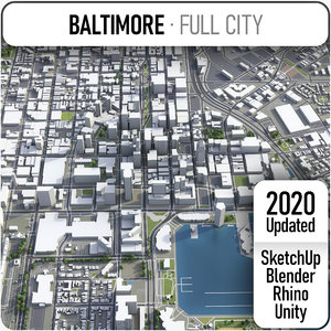3D city baltimore surrounding area model