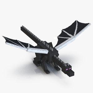 3D minecraft ender dragon rigged