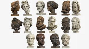 classical head sculptures 3d model