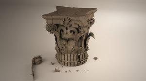 corinthian capital ruin 3D model