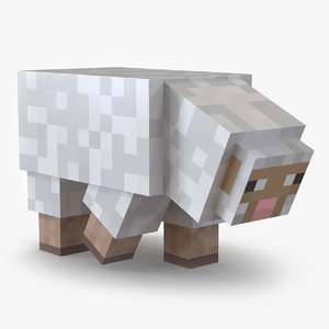 3D minecraft sheep rigged modo model