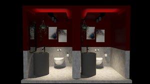 design public toilets 3D model