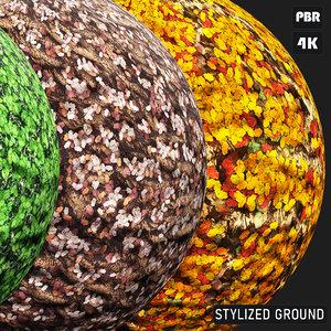 PBR Stylized Ground Foliage textures