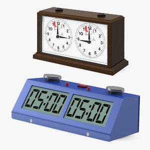 digital mechanical chess clock 3D model