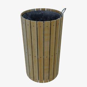 wooden bin wood 3D