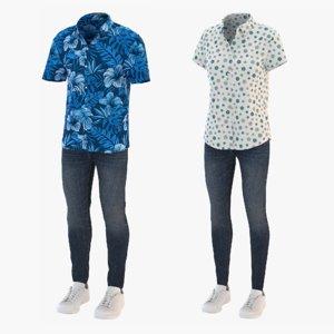men short sleeve shirt 3D model
