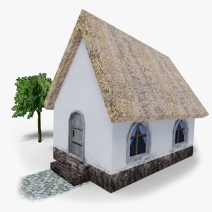 low-poly village house model