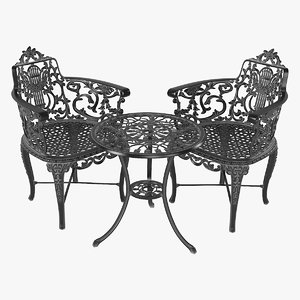 3D cast iron garden table