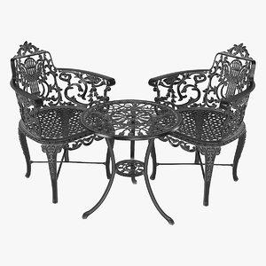 3D cast iron garden table