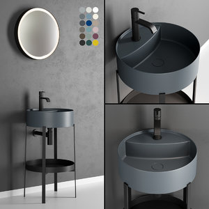 3D model console washbasin designers mirrors