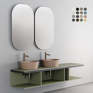 3D wall-mounted multiplo washbasin ceramica model