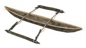 boat ship canoe 3D model