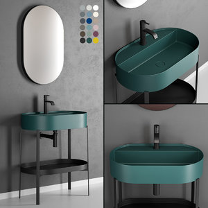 3D console oval washbasin designers model
