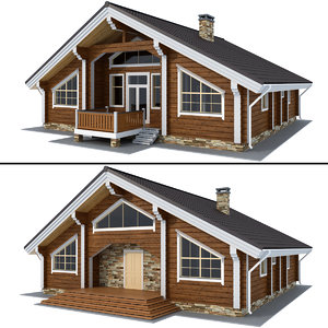 log house - rounded 3D