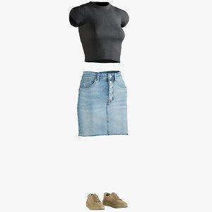 3D realistic skirt tshirt sneakers