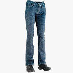 realistic women s jeans 3D model