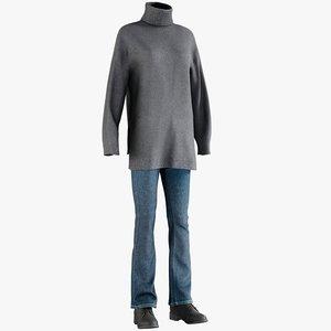 3D model realistic women s jeans