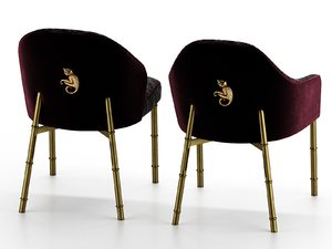 3D model luxury velvet chairs wrought iron