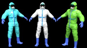 3D doctor ppe hazmat worker model