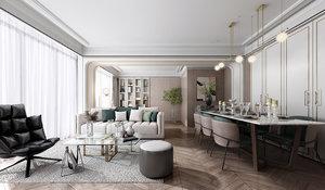 3D livingroominteriorloftloungediningrealisticmodernscenehomephotorealvrayluxuryapartment sofa model