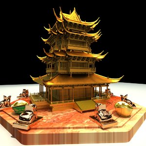 3D chinese lion tower
