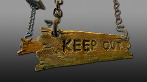 3D model hanging wooden sign ready