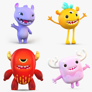 3D cartoon monsters pack model