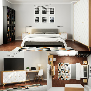 render scene bedroom octane 3D model