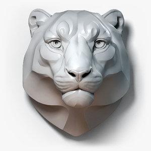 3D model snow leopard stylized animal head
