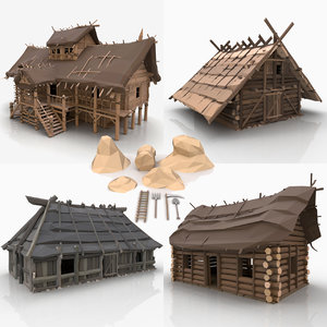 3D stylized viking farm buildings