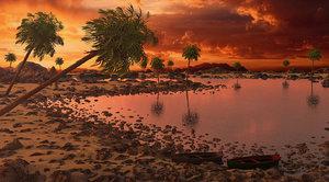3D beach sunset model
