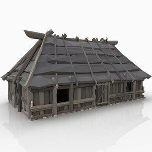 3D model stylized medieval viking wooden