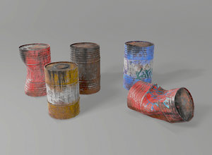 3D model barrels set contains