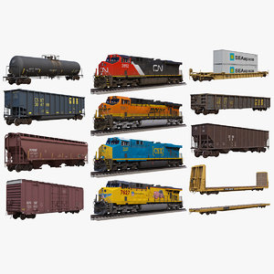 3D big locomotives car rail model