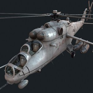 3D model mi-35m helicopter attack