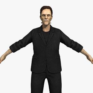 3D frankenstein monster head character rigging