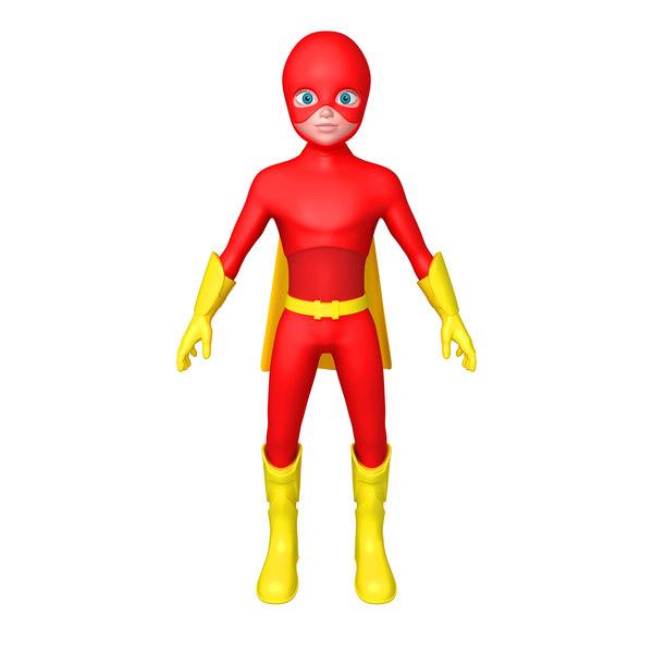 superhero cartoon 3D model