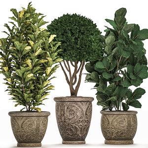 3D ornamental trees classic flowerpots
