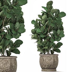 3D ornamental trees classic flowerpots model